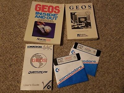 Commodore 64c GEOS, Work Disk, QuantumLink, User's Guide & Books Inside and Out