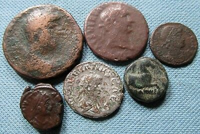 Lot of 6 Ancient Coins to ID - Greek Roman Empire Byzantine w/ Unknown Denarius?