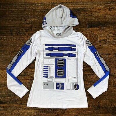 NWT Disney Parks Star Wars Women's Hooded Top Shirt R2D2 Small S - New