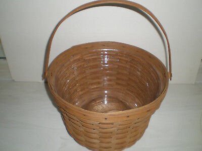 Longaberger 1986 Large Fruit Basket with Protector - Brown Finish