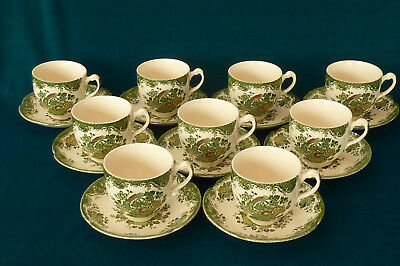 Nine Lovely Johnson Brothers Bird of Paradise Tea Cups & Saucers
