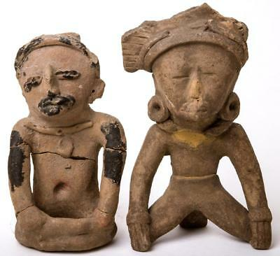 Collection of 2 Ancient Pre Columbian Vera Cruz seated Effigy figures.