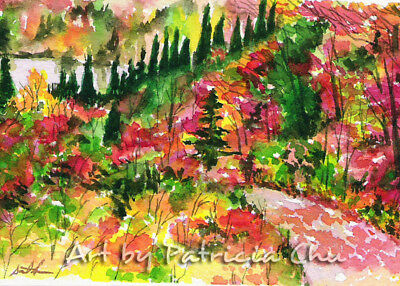 "ACEO LE Art Card Print 2.5""x3.5"" "" Autumn Valley "" landscape art by Patricia"