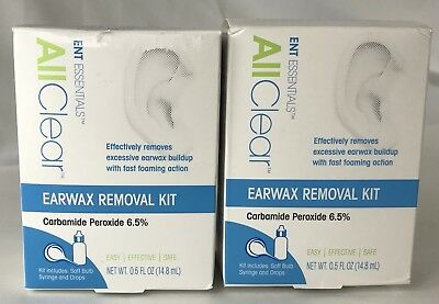 Lot of 2 Ent Essentials All Clear Earwax Removal Kit Carbamide Peroxide 3/19