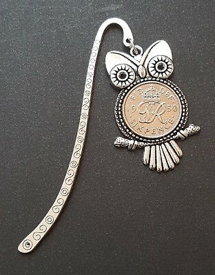 Sixpence Owl Bookmark (choice of year upto 1967), birthday gift for book lover