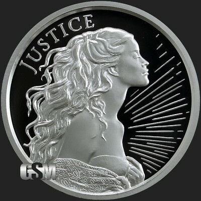 """2018 Silver Shield JUSTICE - 1 oz Proof - #1 in """"Four Cardinal Virtues"""" Series"""
