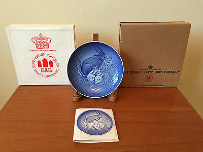 NEW 1981 B&G Mothers Day Danish Plate Rabbits Bunnies Bing & Grondahl Orig Boxes