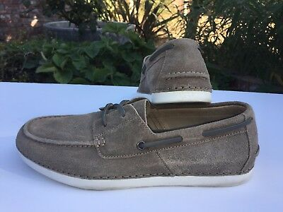 aaac21f09c9 UGG AUSTRALIA MENS MURRAY Boat Shoes TAUPE Suede Leather Laces Size 9 MED  CLEAN!