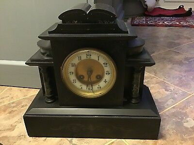 Victorian Black Slate and Marble Striking Mantel Clock