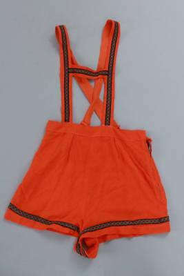 Vintage 50s 60s 70s orange German braces type shorts 6 8 XS S