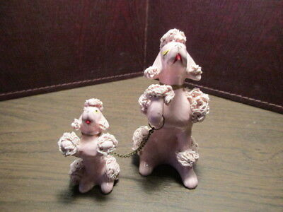 Vintage Ceramic Figurine - Pink Mother Poodle - Puppy on Chain - Japan - 1648