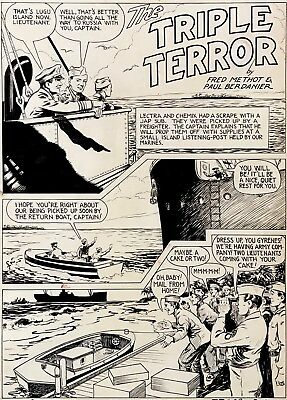 TRIPLE TERROR 6p Complete Story 1943 TIP TOP COMICS WWII Japan Sub ORIGINAL ART