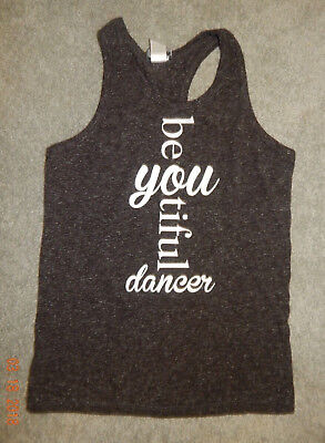 "Youth Size Large--Trendy Trends ""be You"" Graphic Tank--Dark Gray--Excellent"