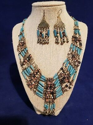 Vintage Antique Egyptian Blue Necklace and Earrings Set