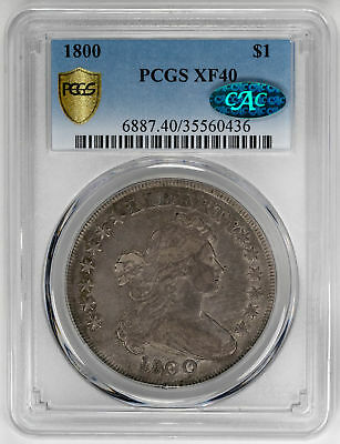 1800 $1 Draped Bust Dollar. B-2 BB-182 R.6 - PCGS XF40 CAC Approved. LOW POP!