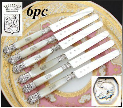 "Antique French Silver & Mother of Pearl 6pc 7 5/8"" Knife Set, Crown Top Heraldry"