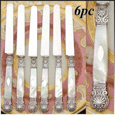 """Gorgeous Antique French 1819-1838 Silver & Mother of Pearl 6pc 8"""" Knife Set"""