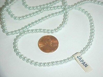100 VINTAGE JAPAN MINT GREEN PEARL ROUND 4mm BEADS L918