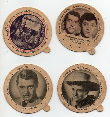 53993. (4) Vintage 1950s Dixie Ice Cream Lids Cary Grant Tim Holt Martin & Lewis