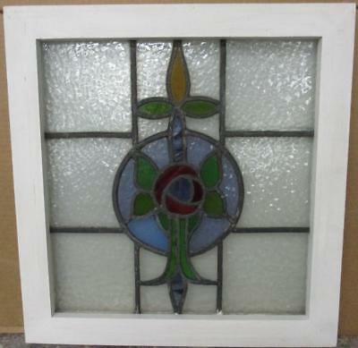 "OLD ENGLISH LEADED STAINED GLASS WINDOW Stunning Floral Drop 19.5"" x 20.5"""