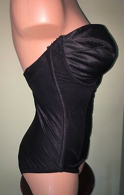 Vtg Body Briefer All in One 36D Shiny Tummy Control Shapewear Strapless Black