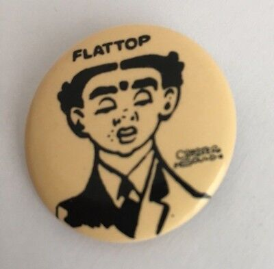 Vtg Dick Tracy Flattop Metal Pinback Button by Chester Gould 1984