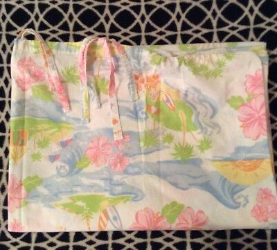 Pottery Barn Kids PBK Crib Toddler Duvet in Santa Barbara Beach Palms Pastel EUC