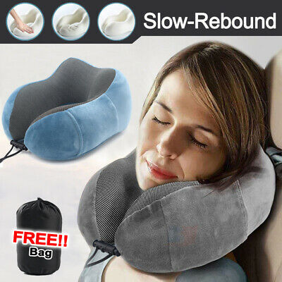 Soft U-Shape Neck Support Memory Foam Rebound Pillow Car Flight Travel Headrest
