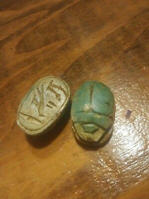 2 Vintage Egyptian Revival Scarab Carved Soap Stone Beads 1 1/4""