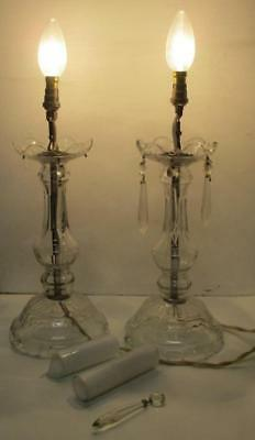Antique Pair of Art Deco clear Crystal Glass Table Lamps 240v working 24cm
