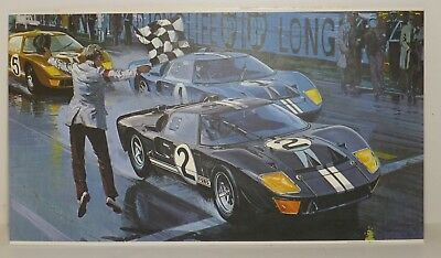 The Checkered Flag RACING PRINT William J Sims 1966 24 Hours Le Mans FORD top 3