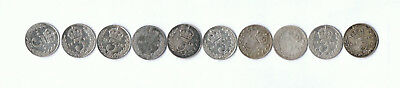 10 x .925 SILVER UK COINS THREEPENCE LOT F