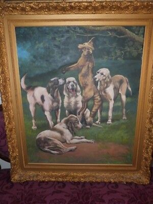Original 1916 Signed Oil On Canvas Painting Hunting Pointer Dogs And Fox