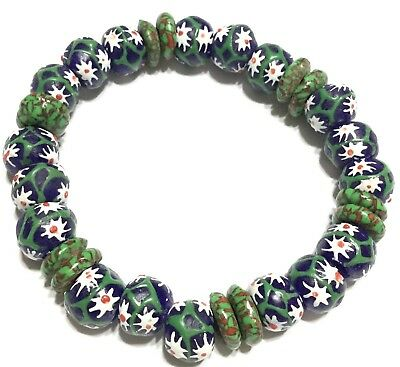 Floral multi color recycled glass handmade bracelet-African Trade Beads-Ghana