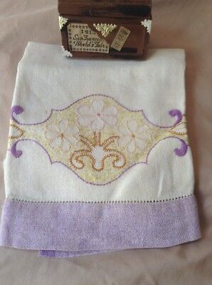 arts and crafts Mission linen towel hand embroidered 16 X 27 In