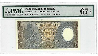 P-89 1963 10 Rupiah, Bank of Indonesia, PMG 67EPQ SUPERB TOP POP!