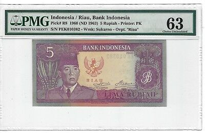 P-R8 1960 5 Rupiah Indonesia / Riau Bank of Indonesia PMG 63 Choice Uncirculated