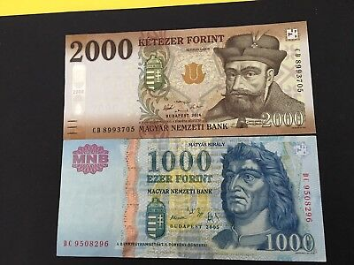 Hungary 1000,2000 Forint  2016  Currency Money Bill Notes
