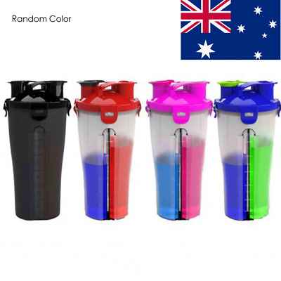 AU 850ml Portable Double Shake Protein Shaker Mixer Cup Drink Whisk Sport Bottle