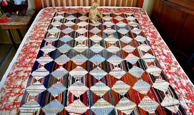 Antique 19th c Hand Stitched Log Cabin Quilt