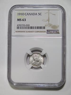 Canada 1910 5 Cents Ngc Graded Ms 63 Silver Type Toned World Coin Collection Lot