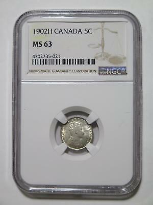Canada 1902H 5 Cents Ngc Graded Ms63 Silver Type Toned World Coin Collection Lot