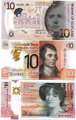 SCOTLAND £10 Pounds Royal Bank Scotland Clydesdale Set x 3 UNC Polymer Banknotes