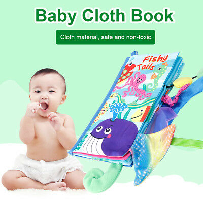 Animal Tail Cloth Book Baby Toy Cloth Development Books Learning Education Gift