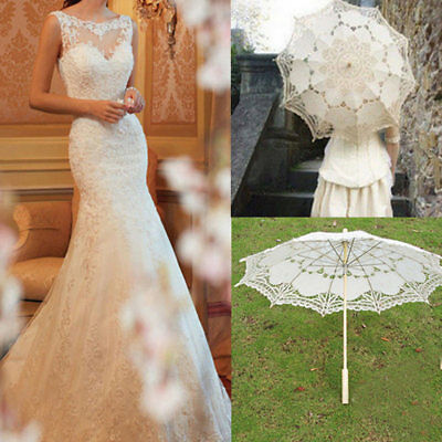 Handmade White Lace Embroidered Parasol Umbrella Bridal Wedding Party Decor