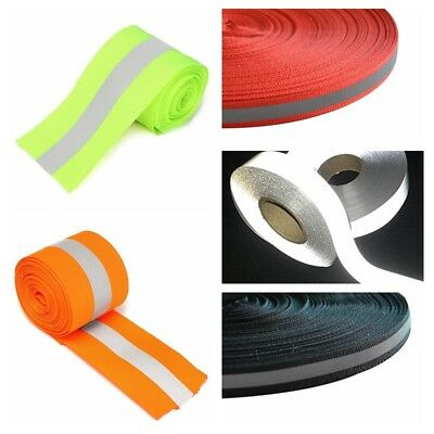 5M Florescent Reflective Safety Strip Tape Warning Ribbon Sewing On To Clothes