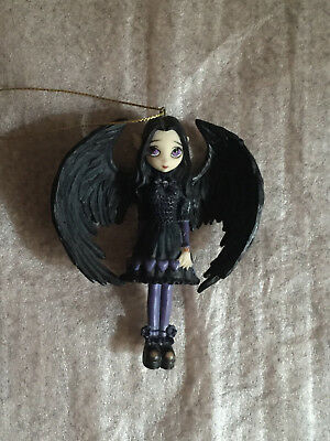 RARE Jasmine Griffith Strangeling Ornament Gothic Angel Fairy Purple Paper Heart