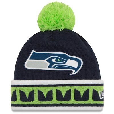 e3771e5e2b3 Seattle Seahawks New Era Team Relation Cuffed Knit Hat With Pom - College