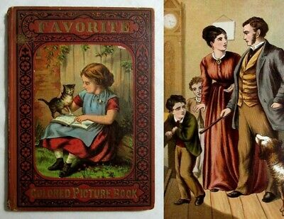 Antique McLOUGHLIN BROS Victorian Children's FAVORITE COLORED PICTURE BOOK Rare