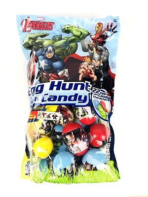Marvel Avengers Plastic Easter Egg, Candy & Stickers Basket Party Favors 22ct